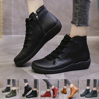 Women's Arch Support Ankle Boots Multi Styles Colors Hot-Flat-Heel Shoes Casual • 12.39£