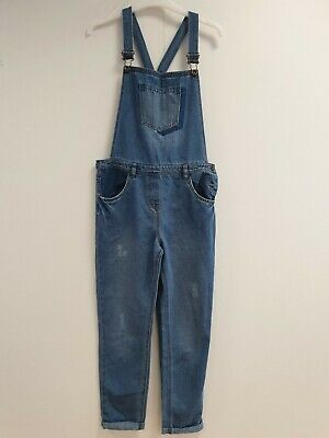 M946 Girls George Faded Blue Tapered Turn Up Dungarees Age 12-13 W30 L25 • 18.99£