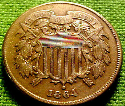 $ CDN100.56 • Buy 1864 Two Cent Piece 2c ~ HIGH GRADE ClVIL WAR YEAR COIN W/ SOLID DETAILS ~ 42PS