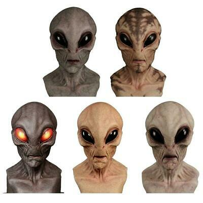 Scary Silicone Face Mask Alien UFO Horror Latex Masks For Halloween Party Props • 14.99£