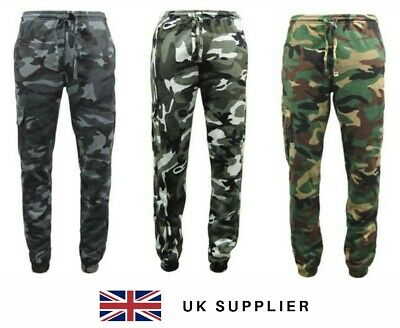 £14.99 • Buy Mens Army Combat Cargo Camo Camouflage Jogging Fleece Bottoms Trousers  S- XXL