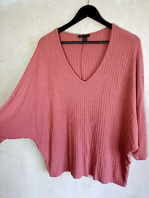 New Look 12 14 Slouchy Top Coral Pink Autumn Winter Jumper Knit • 3.99£