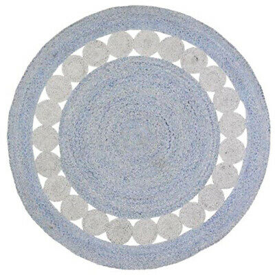 AU111.96 • Buy Naya Floral Hand Braided Woven Blue Grey Round Rug - 2 Sizes **FREE DELIVERY**