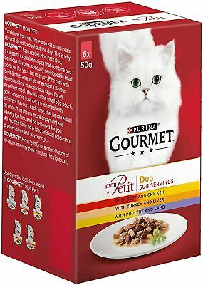 Gourmet Mon Petit Cat Food Pouches Duo Meat, 6x50g • 2.69£