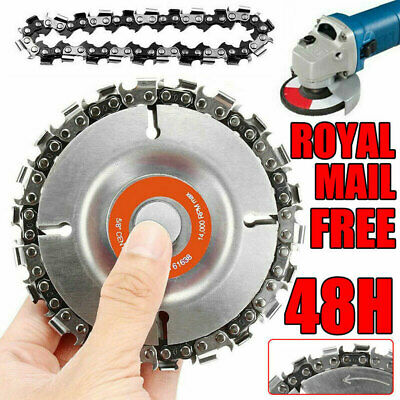 4'' Angle Grinder Disc + 2pcs 22 Tooth Chain Saw Blade For Wood Cutting Tool NEW • 9.77£