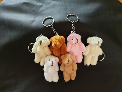 Plush Teddy Bear With Keyring Clip Bag Charm With Moveable Arms/Legs Height 8cm • 4.99£