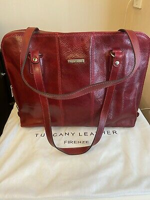 Tuscany Leather Travel/large Red Satchel Bag • 75£