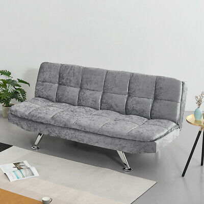 Luxury 3 Seater Linen Fabric/Leather Sofa Bed Sofabed With Chrome Legs Recliner • 149.99£