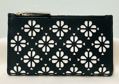 $ CDN69.19 • Buy  Kate Spade Sylvia Perforated Small Slim Bifold Wallet PWRU7241 Black Leather
