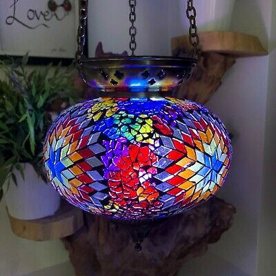£34.99 • Buy Crushed Glass Large Turkish Moroccan Mosaic Hanging Candle Holder Hand Made Lamp