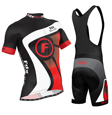 AU84.99 • Buy FDX Mens Cycling Jersey Half Sleeve Top Racing Team Biking Top + Bib Shorts Set