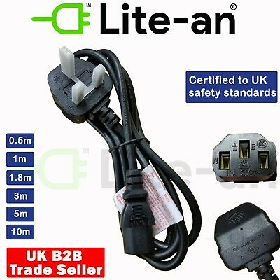 IEC Kettle Lead Power Cable 3 Pin UK Plug For PC Monitor TV C13 Cord 0.5m To 10m • 6.99£
