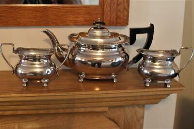 Vintage Heavy Gauge Silver Plated Three Piece Tea Set By Viners Of Sheffield • 36£