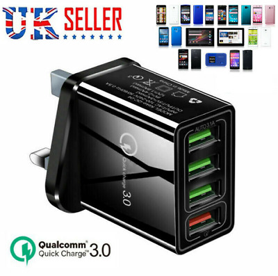 4 Port Fast Quick Charge QC 3.0/USB Hub Wall Charger Power Adapter Plug UK • 4.59£