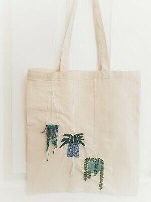 Hanging Plants 100% Eco Cotton Canvas Hand Embroidery Bag • 15£