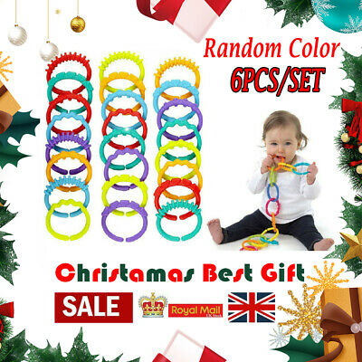 Rainbow Teether Ring Links Plastic Baby Kids Infant Stroller Gym Play Mat Toys R • 1.29£