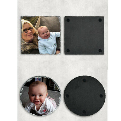 Personalised Natural Slate Photo Custom Drink Coasters - Perfect Gift • 6.20£