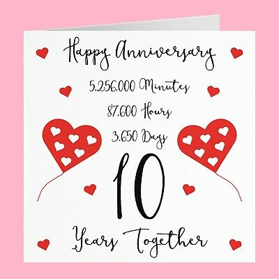 10th Wedding Anniversary Card - 10 Years Together - Timeless Collection • 3.99£