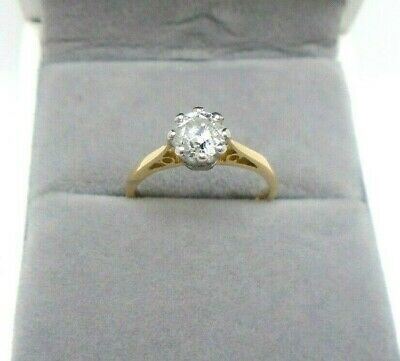 18ct Yellow Gold Hallmarked Diamond 0.58ct Engagement Solitaire Ring Size I 1/2 • 850£