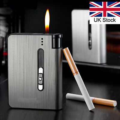Automatic Pop-Up Cigarette Case With Lighter Metal Box Holder X10 Capacity • 11.99£