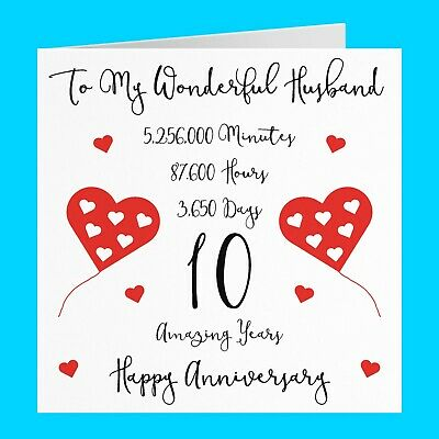 £3.99 • Buy Romantic Husband 10th Wedding Anniversary Card - Timeless Collection