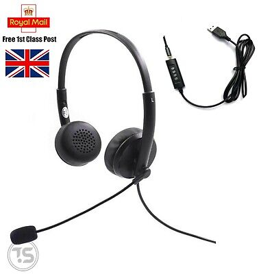 USB + Audio Jack PC Headsets Wired Ear Call Centre Laptop Skype Zoom With Mic  • 14.99£