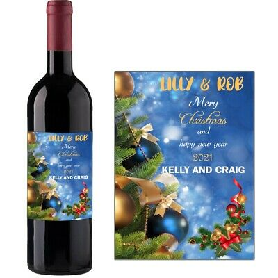 Personalised Wine Bottle Label For MERRY Christmas XMAS Happy New Year BL047 • 2.49£
