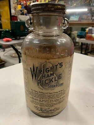 Vintage RARE Wright's Ham Pickle Half Gallon Glass Jar Paper Label NOS Country S • 305.48£