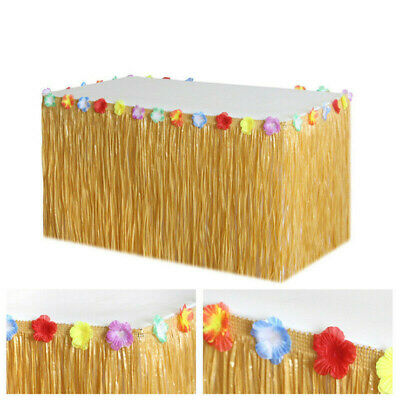 Tropical Hawaiian Luau Table Grass Skirt With Flowers BBQ Party Decorations Tool • 4.98£