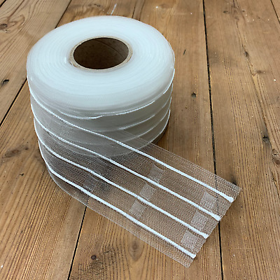 76mm (3 ) Crystal Pencil Pleat Translucent Curtain Tape/3 Woven Pockets/5mts • 13.39£