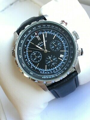 Rotary Gents GS03632/04 Military Chrono Sports Watch New Black Leather Strap • 50£