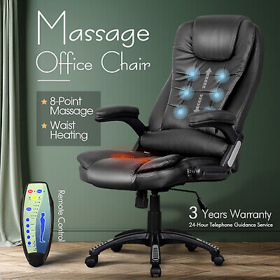 AU179.90 • Buy Office Massage Chair PU Leather 8 Point Heated Executive Computer Seat Brown