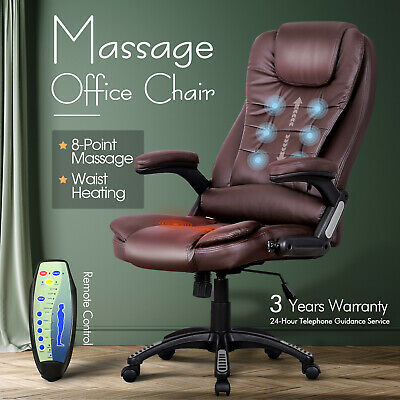 AU179.90 • Buy Massage Office Chair PU Leather 8 Point Heated Executive Computer Seat Brown