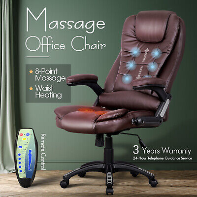 AU169.90 • Buy Office Massage Chair PU Leather 8 Point Heated Executive Computer Seat Black