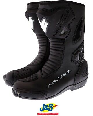 £89.99 • Buy Frank Thomas Pulse CE Racing Motorcycle Boots Sports Track Race Slider Black J&S