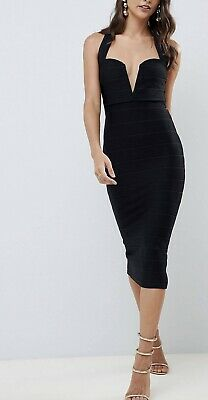AU70 • Buy ASOS Design V Bar Bandage Midi Bodycon Dress Size 14