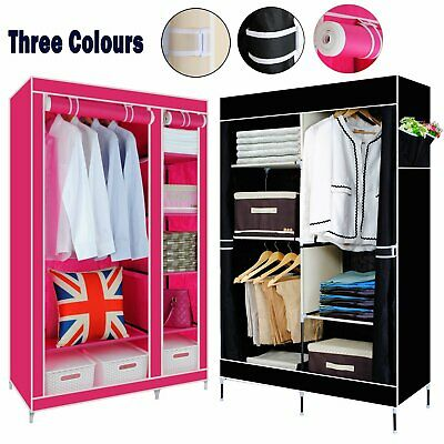 Portable Large Fabric Canvas Wardrobe Clothes Storage Rail Cover Cupboard • 19.89£