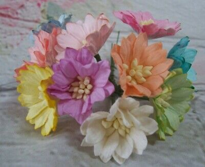 Mulberry Paper Flowers Daisy  Mixed Card Making Crafts PK10 • 2.45£