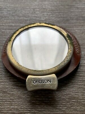 AU25 • Buy Estate Find - Vintage OROTON Circular Mirror Leather Holder - MADE IN ITALY