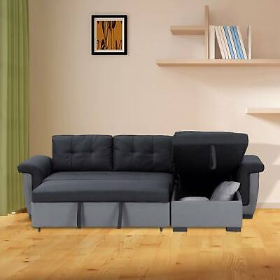 NEW Corner Sofa Bed With Storage, Black Fabric + Grey Leather. Very COMFORTABLE! • 419.99£
