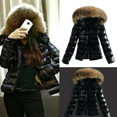 Women Fur Collar Hooded Quilted Padded Winter Coat Wet Look Jacket Super Warmer • 22.99£
