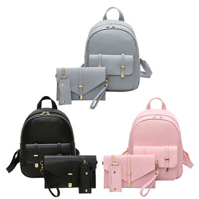 3ps Women Backpack Girl School Satchel Shoulder Bag Rucksack Leather Travel Bags • 14.99£