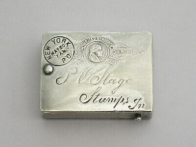 American Silver Plated Thomas Jefferson Postcard Stamp Case C1890 • 70£