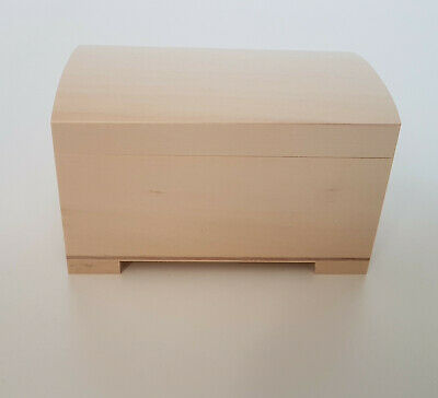 Wooden Treasure Chest  Storage Box With Lid , Plain Pinewood Keepsake Trunk  • 8.99£