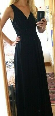 £9 • Buy Black Floor Length Evening Dress Ball Gown With Cowl Back Size UK 6