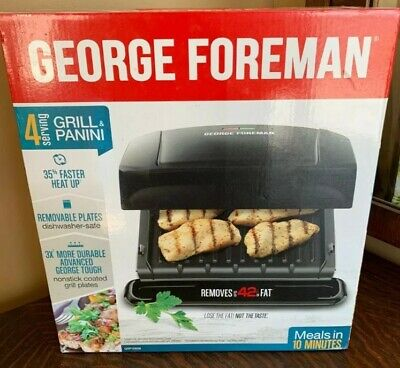 George Foreman GRP1060B 4-Serving Panini Press With Removable Plate - Black • 17.63£
