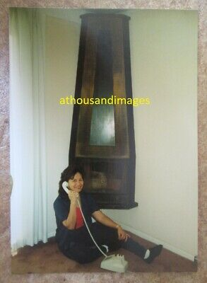 £3.99 • Buy Real Photo Pretty Asian Woman Next To Fireplace Talking On Vintage Telephone L15