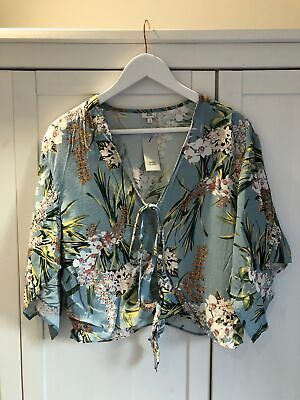 NEW RIVER ISLAND Women's Size UK 12 Blue Floral Print Tie Front Blouse Top • 13.99£
