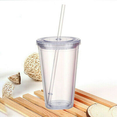 16OZ Double Walled Plastic Cup With Lid And Straw Clear Coffee Juice Insulated • 8.56£
