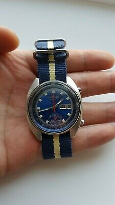 $ CDN370 • Buy Seiko Chronograph 6139-6015 Blue Day Date 17j Dial Cal. 6139B Movement